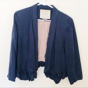 Anthropologie Cropped Blazer with Ruffle Detailing